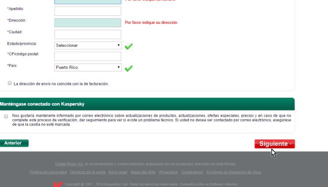 Datos del comprador en cómo descargar e instalar Kaspersky Antivirus 2016