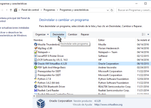 Cómo desinstalar VirtualBox en Windows 10