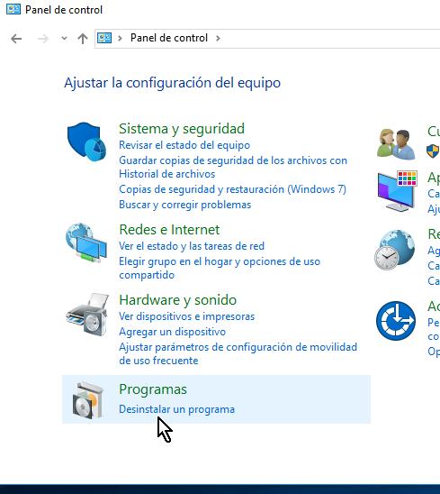 Categoría Programa del Panel de control en cómo desinstalar un programa en Windows 10