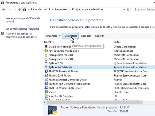 Botón Desinstalar del Panel de control en cómo desinstalar un programa en Windows 10