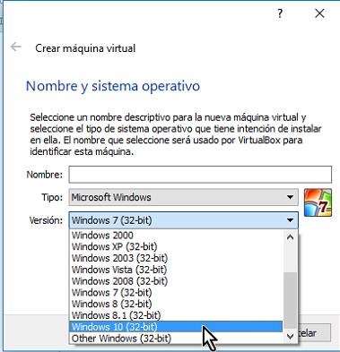 Lista de máquinas virtuales sólo de 32 bits en cómo habilitar VirtualBox 64 bits en Windows 10