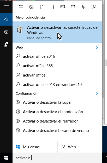 Activar o desactivar las características de Windows en cómo habilitar VirtualBox 64 bits en Windows 10