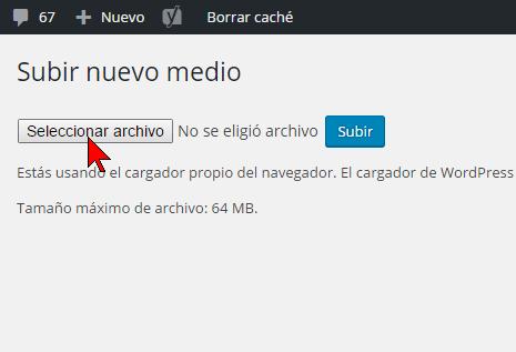 Botón Seleccionar archivo en cómo resolver el error HTTP al subir imágenes en WordPress