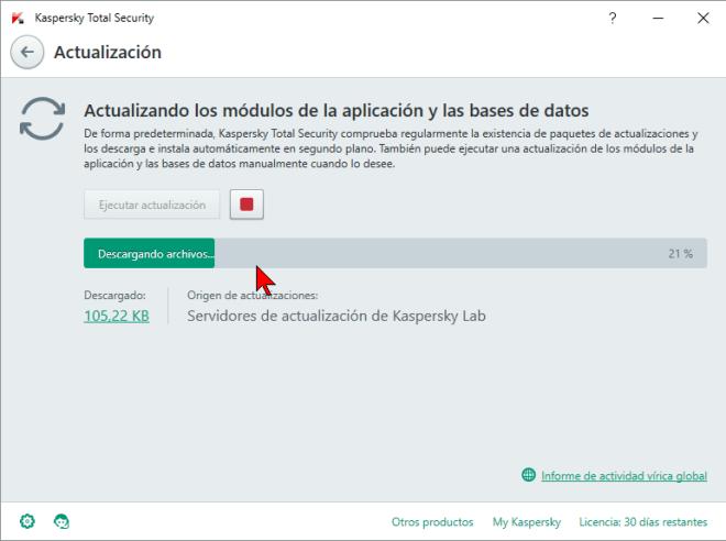 Barra de progreso en cómo actualizar el antivirus Kaspersky Total Security multidispositivos 2016 manualmente