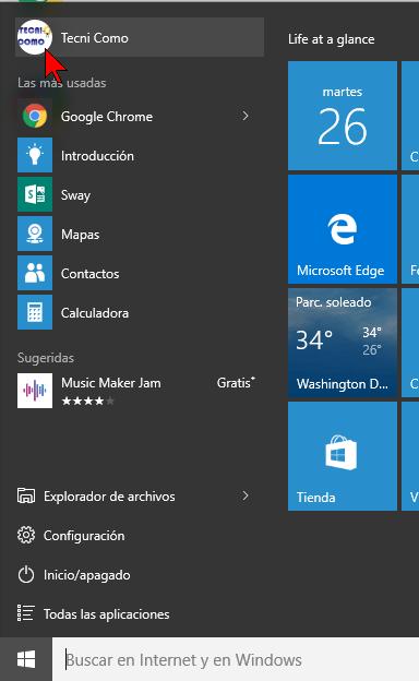 Seleccionando el usuario en cómo cerrar sesión en Windows 10