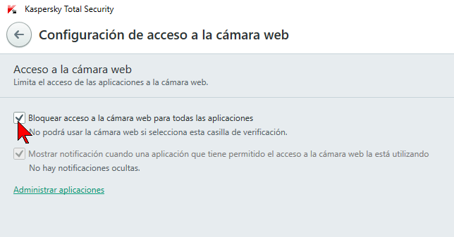 Casilla para bloquear la cámara web en cómo configurar la privacidad de cámara con el antivirus Kaspersky Total Security 2016