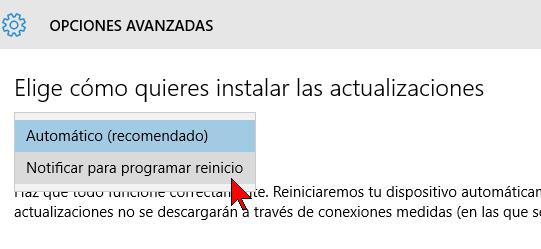 Menú desplegable de opciones de actualización en cómo configurar las actualizaciones automáticas de Windows 10