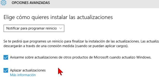 Casillas de opciones en cómo configurar las actualizaciones automáticas de Windows 10