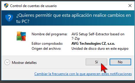 Windows 10 preguntando sobre cambios en cómo descargar e instalar AVG Antivirus Protection Pro