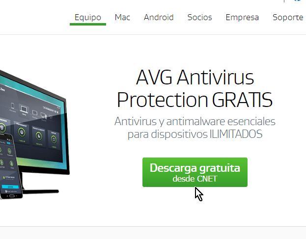 Botón Descarga gratuita en cómo descargar e instalar AVG Antivirus Protection gratis