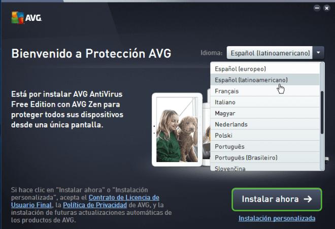 Selección del idioma del antivirus gratis de AVG en cómo descargar e instalar AVG Antivirus Protection gratis