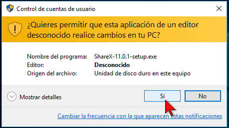 Windows 10 confirmando la instalación en cómo descargar e instalar ShareX para capturas de pantalla