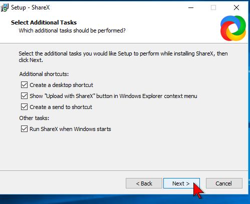 Opciones de intalación en cómo descargar e instalar ShareX para capturas de pantalla