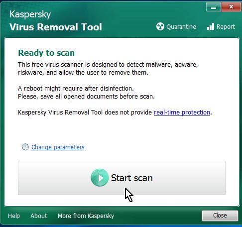 Comenzando el análisis y escaneo de tu sistema en cómo descargar y usar Kaspersky Virus Removal Tool