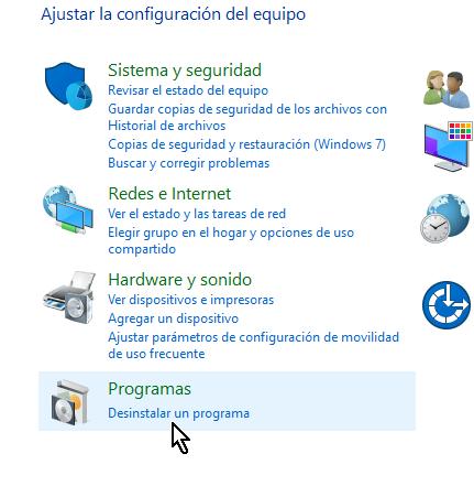 Panel de control en cómo desinstalar AVG Antivirus Protection en Windows 10