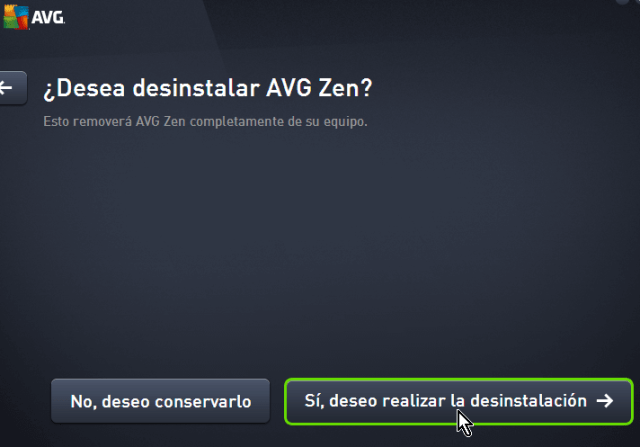 Confirmación de la desinstalación de AVG Zen en cómo desinstalar AVG Antivirus Protection en Windows 10