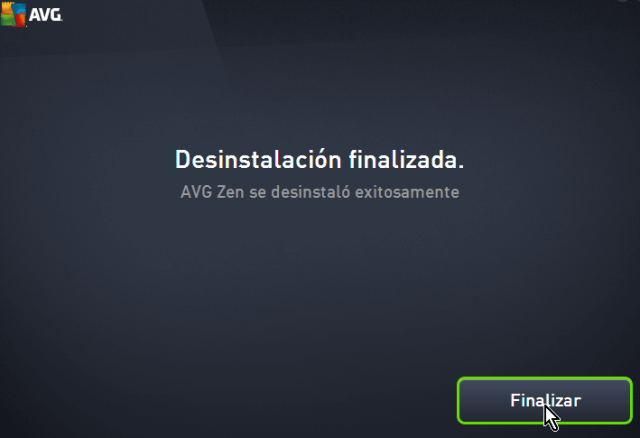 Botón Finalizar de AVG Zen en cómo desinstalar AVG Antivirus Protection en Windows 10