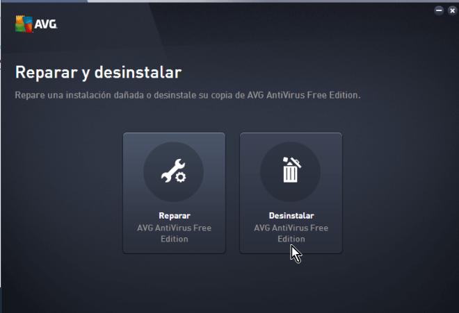 Pantalla para desinstalar EVG AntiVirus Free en cómo desinstalar AVG Antivirus Protection en Windows 10