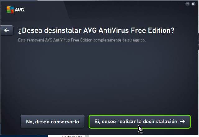 Confirmando desinstalación en cómo desinstalar AVG Antivirus Protection en Windows 10