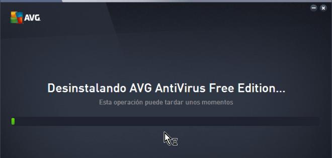 Indicador del progreso de la desinstalación en cómo desinstalar AVG Antivirus Protection en Windows 10