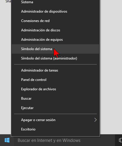 Menú contextual del botón Inicio en cómo abrir el Símbolo del sistema en Windows 10