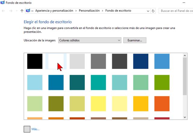 Lista de más colores incluyendo más claros en cómo cambiar el color de fondo del Escritorio de Windows 10