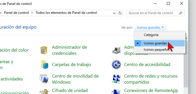 Organizar por Iconos grandes en cómo cambiar la visualización del Panel de control en Windows 10