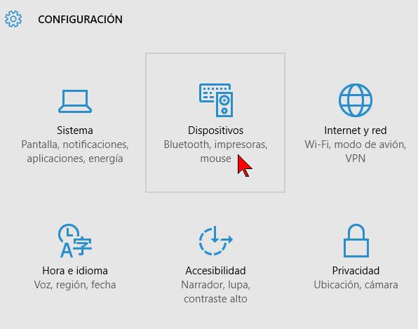 Opción Dispositivos de la Configuración de Windows en cómo habilitar o deshabilitar la reproducción automática en Windows 10