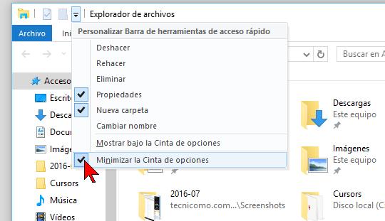 Configurando la Barra de herramientas de acceso rápido en cómo mostrar u ocultar la Cinta de opciones en Windows 10