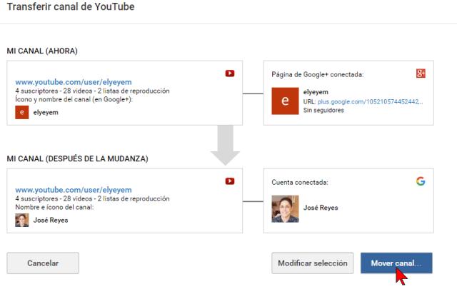 Botón Mover canal... en cómo transferir un canal de YouTube a otra cuenta