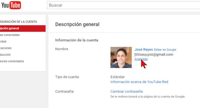 Opción Avanzado en cómo transferir un canal de YouTube a otra cuenta