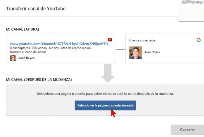Botón Seleccionar la página o cuenta deseada en cómo transferir un canal de YouTube a otra cuenta