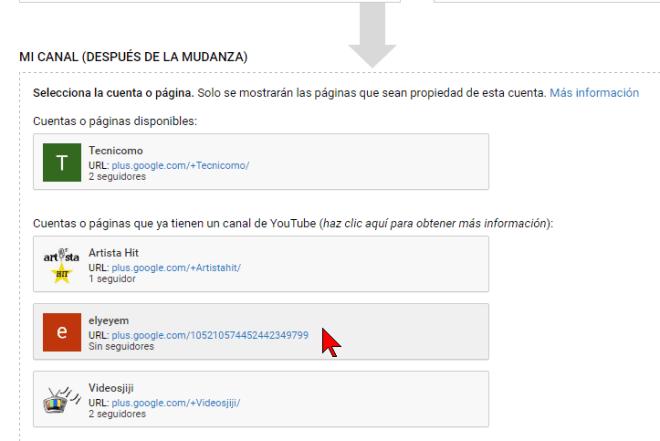 Seleccionando la cuenta para la mudanza en cómo transferir un canal de YouTube a otra cuenta