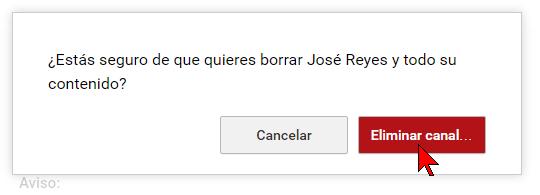 Confirmando la eliminación del canal en cómo transferir un canal de YouTube a otra cuenta