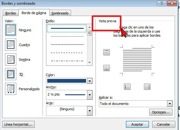 Vista previa de los bordes en cómo colocar un borde a página de Word 2013.