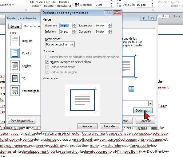Opciones de borde y sombreado en cómo colocar un borde a página de Word 2013.