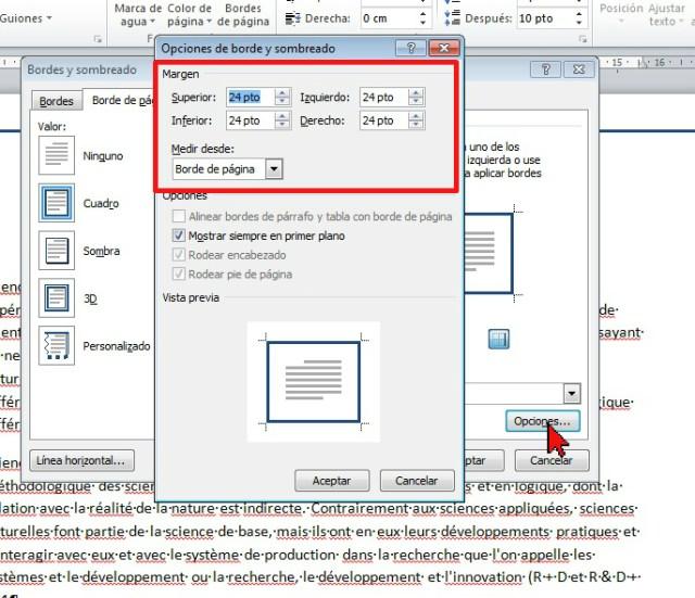 Ajustando medidas de los bordes en cómo colocar un borde a página de Word 2013.
