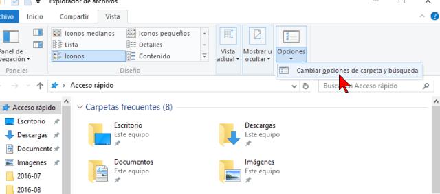 Opción Cambiar opciones de carpeta y búsqueda en cómo deshabilitar Acceso rápido en el Explorador de archivos en Windows 10