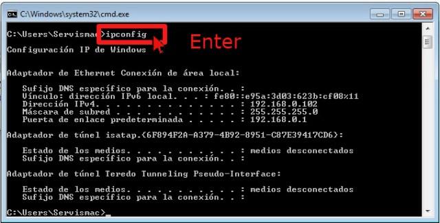 Comando ipconfig en cómo hallar la dirección de IP de tu computadora