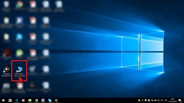 Acceso directo al Este equipo en cómo mostrar las carpetas y archivos ocultos en Windows 10