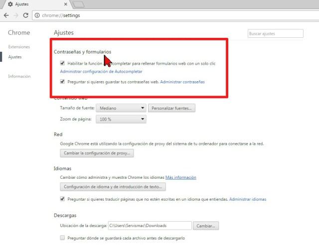 Contraseñas y formularios en cómo mostrar las contraseñas en Google Chrome