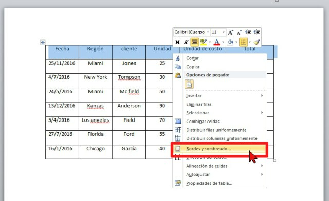 Menú contextual Bordes y sombreado en cómo sombrear las celdas de una tabla en Word 2013