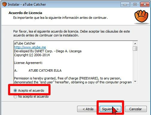Acuerdo de licencia en cómo usar aTube Catcher para descargar la música de un video de YouTube