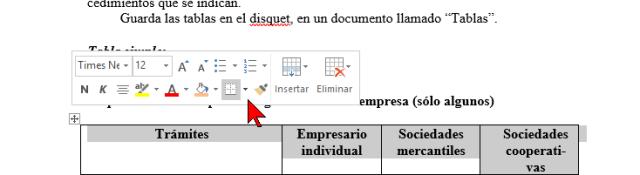 Seleccionando la tabla en cómo añadir o cambiar los bordes de una tabla en Word 2016
