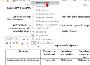 Cómo añadir o cambiar los bordes de una tabla en Word 2016