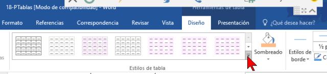 Botón Más en Diseño en cómo añadir o cambiar los bordes de una tabla en Word 2016