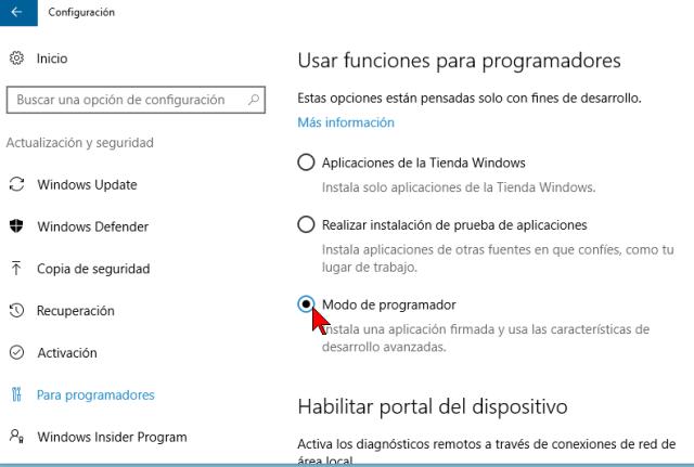 Opción Modo programador en cómo activar el modo de programador en Windows 10