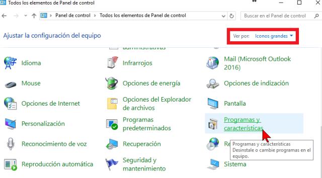 Programas y características en cómo activar o desactivar las características de Windows 10