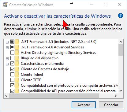 Ventana Características de Windows en cómo activar o desactivar las características de Windows 10