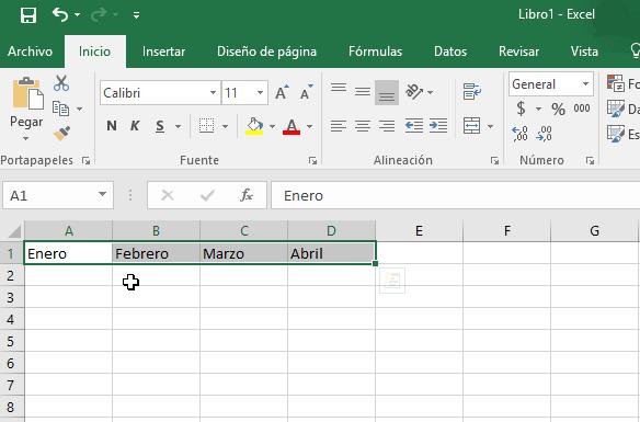 Selección de las celdas en cómo cambiar la orientación de las celdas en Excel 2016